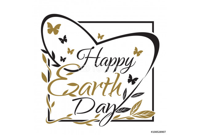 Happy Earth Day. 22 th March. Typographic design. Vector black and gold lettering. Earth Day lettering card 64239