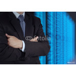 businessman hand using tablet computer and server room backgroun 64239