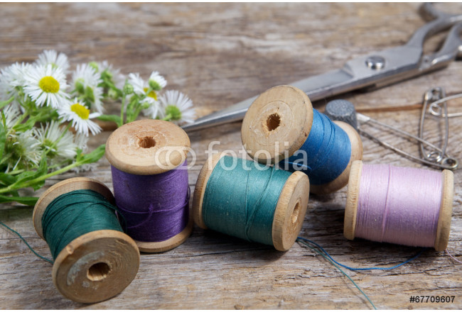 Vintage Background with sewing tools and colored tape 64239