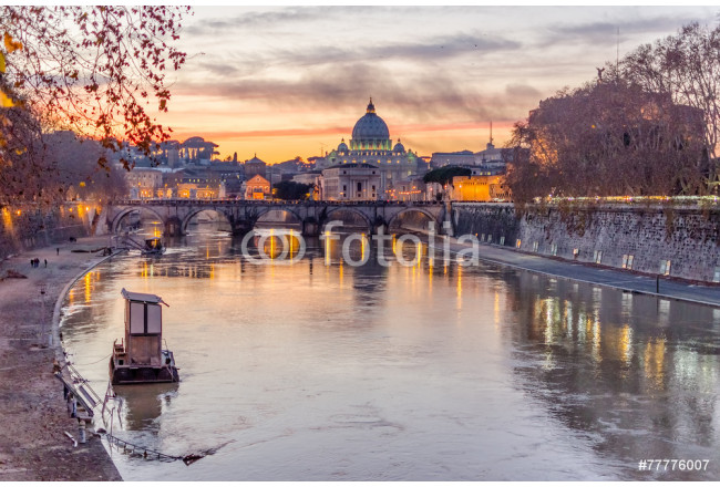Vatican City and Tevere River in Rome at Dusk 64239