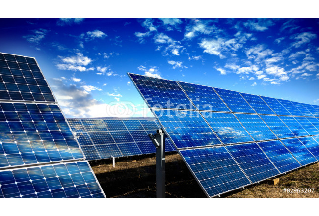 Solar panels modules and blue sky with clouds 64239