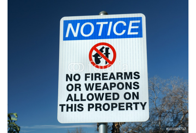 No Firearms or Weapons Sign 64239