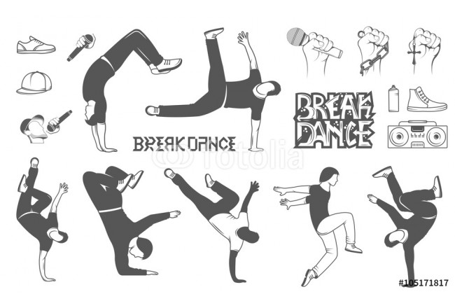 Cuadro decorativo Set of Vector Breakdance Man Silhouettes 64239
