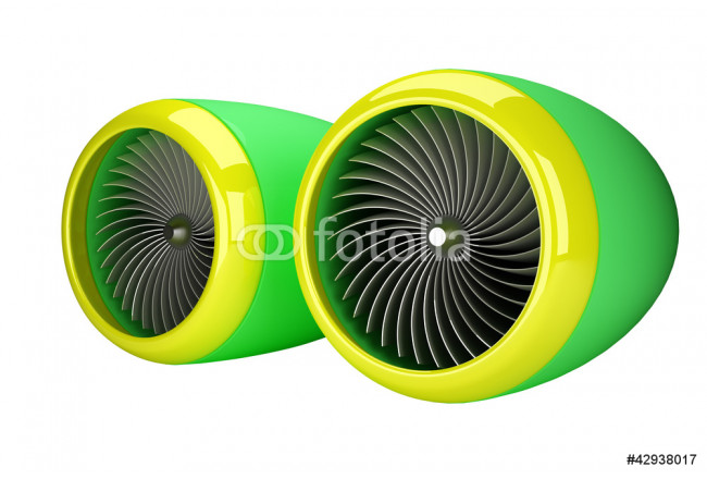 Jet engine turbines isolated on white background 3d render 64239