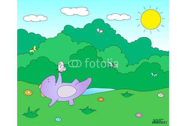 Cute chubby dragon is playing with dragonflies and butterflies o 64239