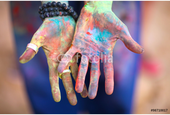 Brightly painted hands 64239
