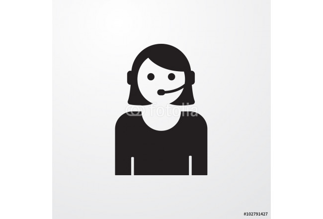 Call center woman with headset icon for web and mobile. 64239