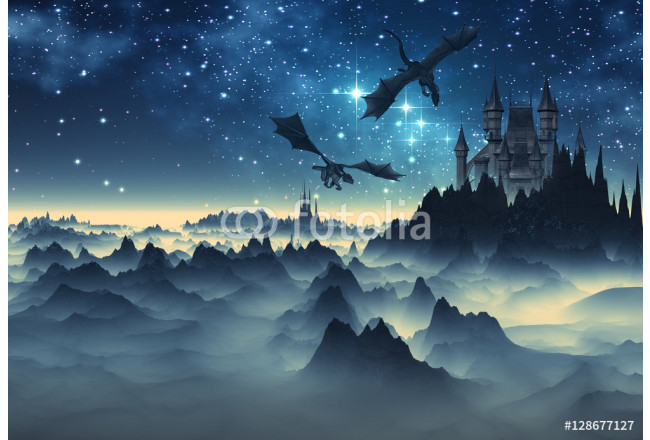 3D Created and Rendered fantasy Landscape with Dragons and a Castle 64239