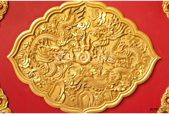 Obraz nowoczesny golden dragon decorated,chinese style ,temple in Thailand 64239