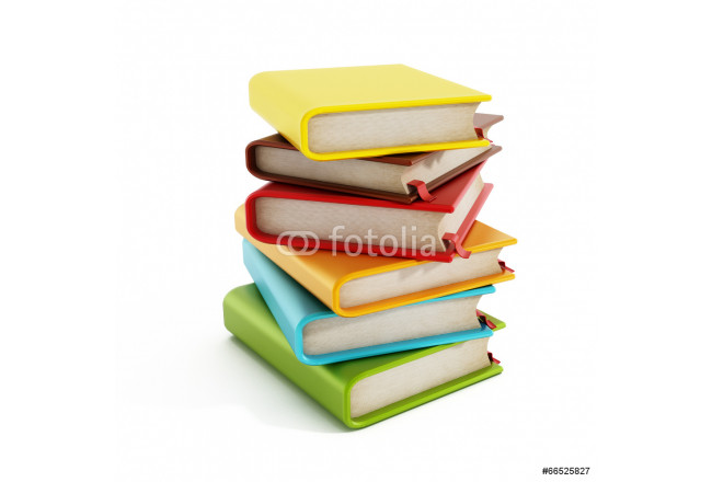 Multi-colored book stack isolated on white 64239