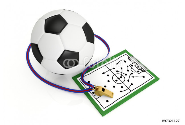 A football and a whistle - 3d render illustration 64239
