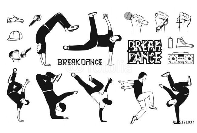 Set of Vector Breakdance Man Silhouettes 64239