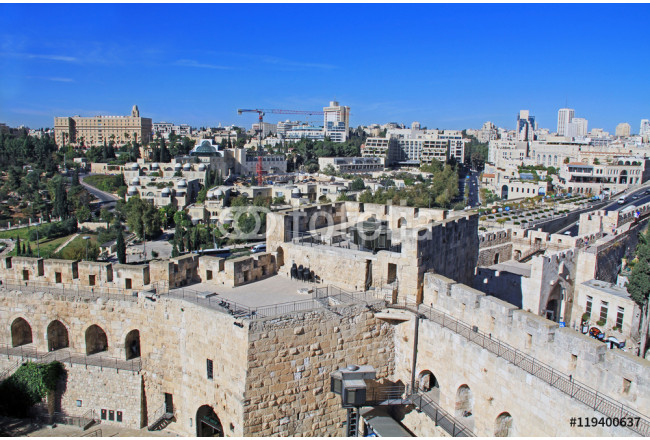 View of the city of Jerusalem from the top of the Jerusalem Citadel or Tower of David. 64239