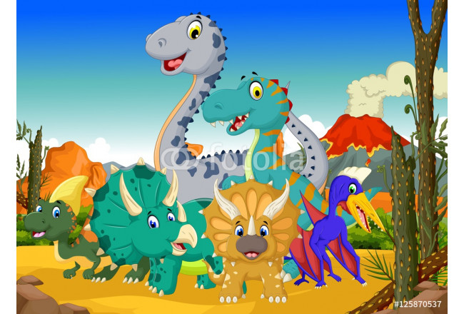 Painting funny dinosaur cartoon in the jungle with landscape background 64239