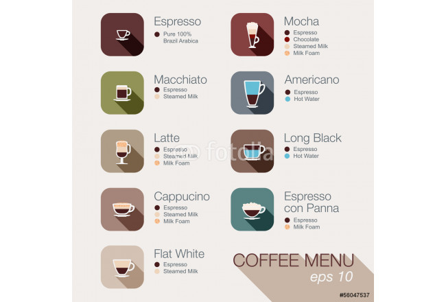 Bild auf Leinwand Coffee vector icon set menu. Buttons for web and apps. 64239