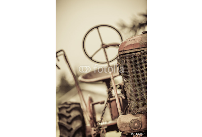 Old Red Vintage Tractor 64239