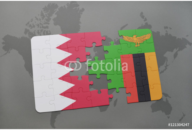 puzzle with the national flag of bahrain and zambia on a world map background. 64239