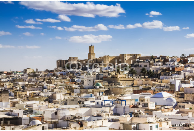 View of the Medina and the castle kasbah of Tunisia in Sousse. 64239