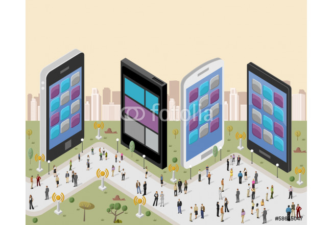 Business people in a city with smart phones 64239