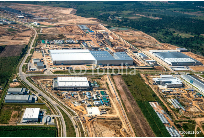 Industrial estate land development aerial photography 64239