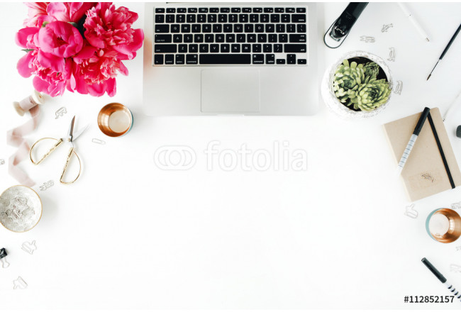 Workplace with laptop, succulent, peonies, golden scissors, spool with beige ribbon, pencils and diary. Flat lay composition for bloggers, magazines, social media and artists. Top view. 64239