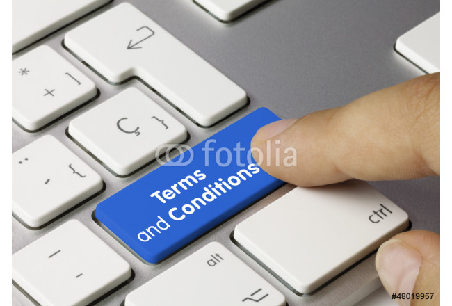 Terms and conditions keyboard key. Finger 64239