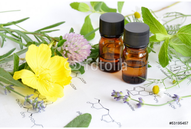 essential oils with herbs on science sheet 64239