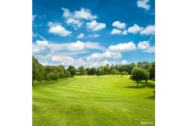Painting green golf field and blue cloudy sky 64239