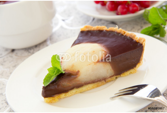 Chocolate tart with pears. Selective focus. 64239
