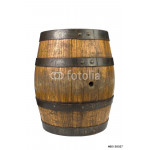 Wood barrel with steel rings on white 64239