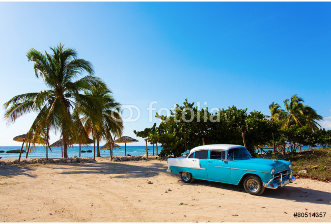 Art painting Old classic car on the beach of Cuba 64239