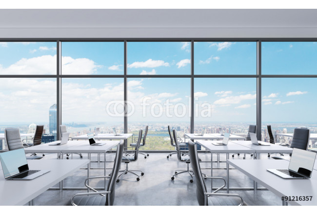 Toile déco Workplaces in a modern panoramic office, New York city view from the windows. Open space. White tables and black leather chairs. A concept of financial consulting services. 3D rendering. 64239
