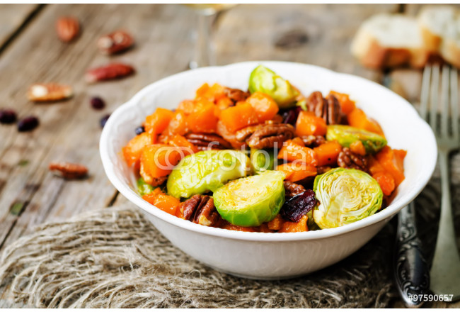 roasted brussels sprouts honey pumpkin pecan salad 64239