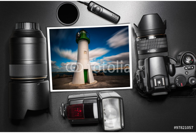 Camera equipment around a printed photo (copy-space to insert yo 64239