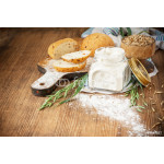 Oat flour, oatmeal bread and ears of green oats on a wooden background for home baking 64239