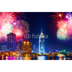 Celebration. Skyline with fireworks light up sky over business district in Ho Chi Minh City ( Saigon ), Vietnam. Beautiful night view cityscape, urban landscape. Holidays, celebrating New Year. 64239