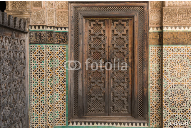 door and decoration in the Medrese Bou Inania in the ancient medina of Fes 64239
