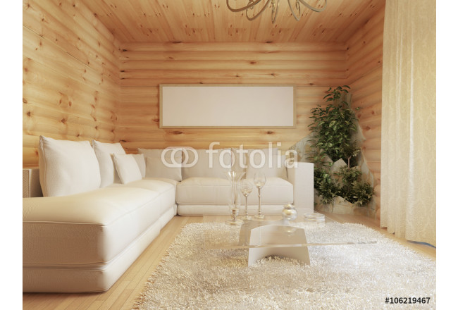 living room interior in a log house. 64239
