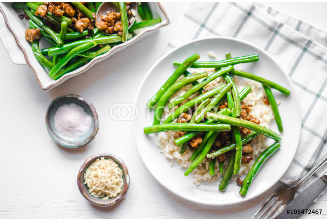 Meat with rice and green beans 64239