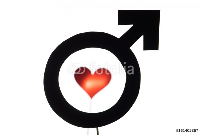Black male and man symbol with red heart and love icon. Gay pride, homosexuality or lesbian concept. Silhouette from sign cut from cardboard paper and wooden stick isolated on white background. 64239