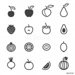 Fruits and Vegetables Icons with White Background 64239