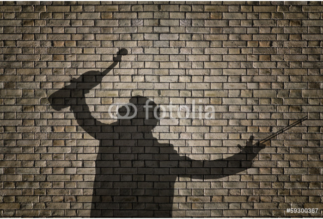 Silhouette of a violin player on brick wall 64239