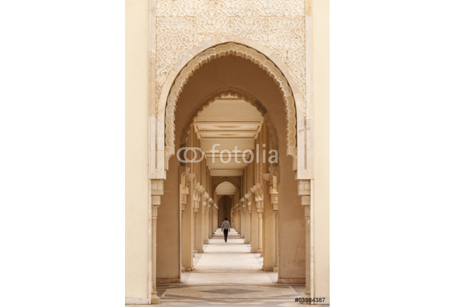 Casablanca, Morocco: Intricate exterior marble and mosaic stone 64239