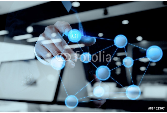 Quadro contemporaneo double exposure of hand showing Internet of things (IoT) word di 64239
