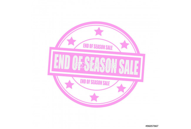 End of season sale white stamp text on circle on pink background and star 64239