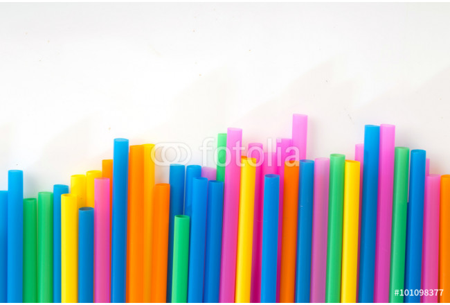 Drinking straw colored plastic tubes isolated on white background 64239