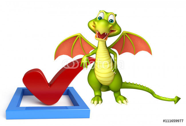Dragon cartoon character with right sign 64239