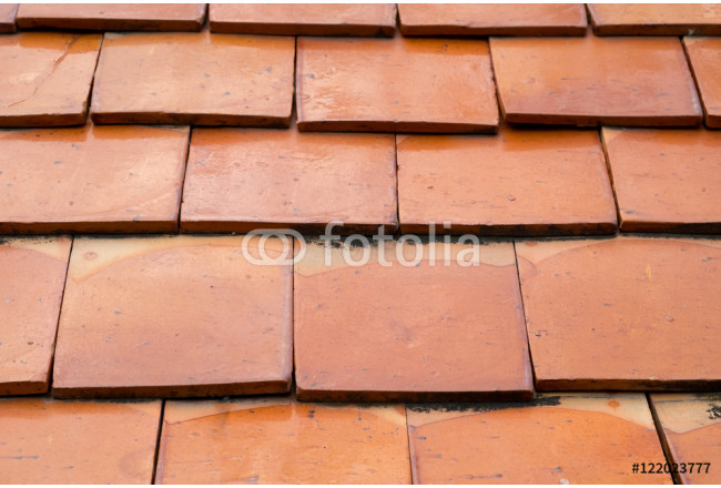 soft focus of bright red tile roof surface, abstract background texture 64239