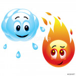 Smiling balls representing raining cloud and fire 64239