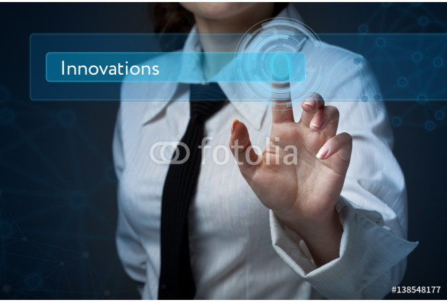 Business, technology, internet and networking concept. Business woman presses a button on the virtual screen: Innovations 64239